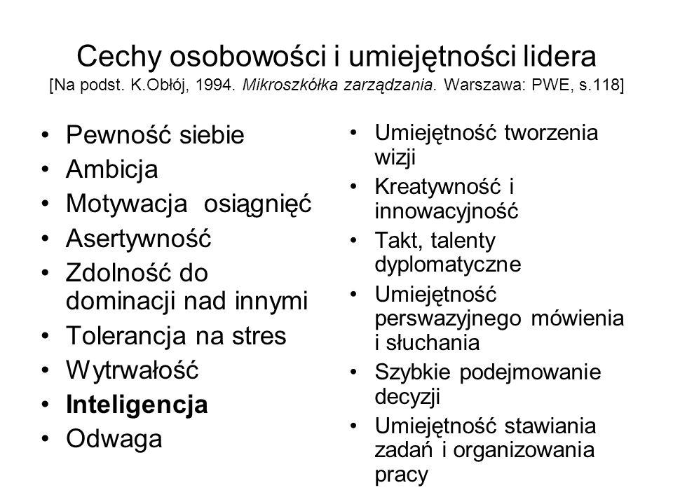 Cechy osobowości i umiejętności lidera [Na podst. K. Obłój, 1994